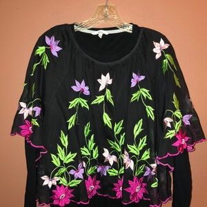 Embroidered Semi-sheer Blouse